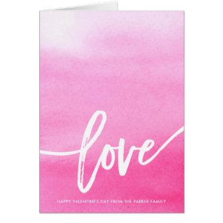 Pink Watercolor Splash | Love Typography Card