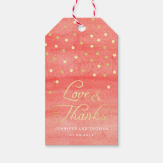 Pink Watercolor Texture Wedding Favor Tags
