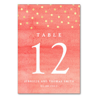 Pink Watercolor Texture Wedding Table Number Card Table Card