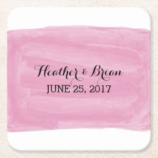 Pink Watercolor Wedding Paper Coasters