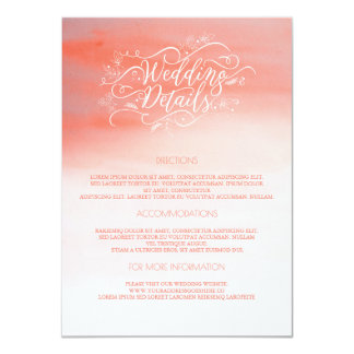 Pink Watercolors Wedding Details - Information Card