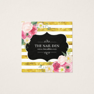 Pink Watercolour Roses on Gold Stripes Square Business Card