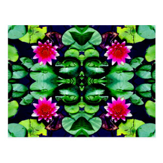 Pink Waterlily and Green Leaves Pattern Postcard