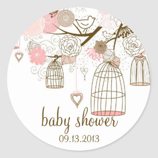 Pink Whimsical Birdcages Baby Shower Sticker
