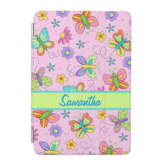 Pink Whimsy Butterflies Name Personalized iPad Mini Cover