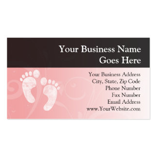 Pink White Baby Footprints Business Card Template