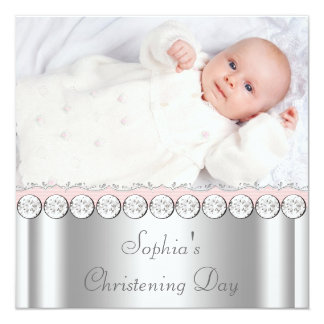 Pink White Baby Girl Photo Christening 13 Cm X 13 Cm Square Invitation Card