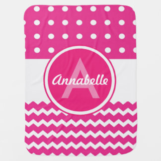 Pink White Chevron Monogram Personalised Baby Blanket