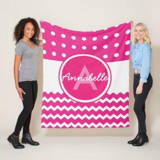 Pink White Chevron Monogram Personalised Fleece Blanket