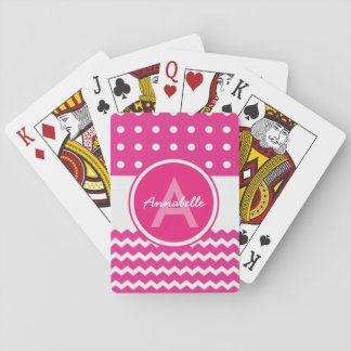 Pink White Chevron Monogram Personalised Playing Cards