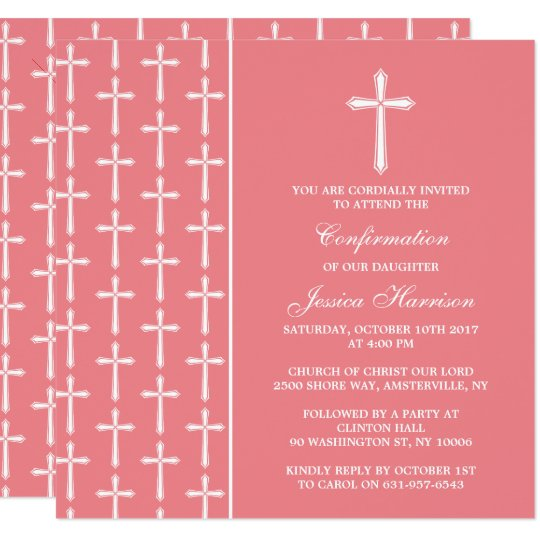 Pink & White Cross Holy Communion Or Confirmation Card