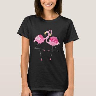 Pink & White Cute Flamingos Illustration T-Shirt