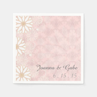 Pink White Damask Daisy Floral Wedding Disposable Napkins
