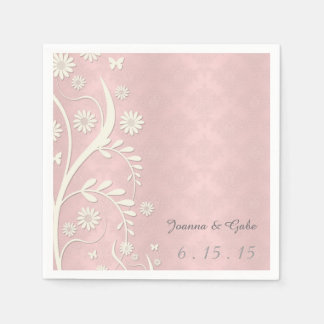 Pink White Damask Daisy Floral Wedding Paper Serviettes