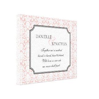 Pink white damask wedding personalized canvas art