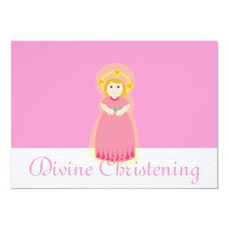 Pink White Divine Christening Invitation-Customize Card