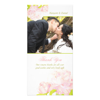 Pink + White Floral Wedding Thank You Photocards Photo Cards
