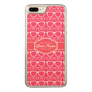 Pink & White Geek Nerd Glasses Carved iPhone 8 Plus/7 Plus Case