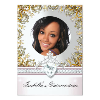 Pink White Gold Quinceanera 15 15th Photo Party 2 4.5x6.25 Paper Invitation Card