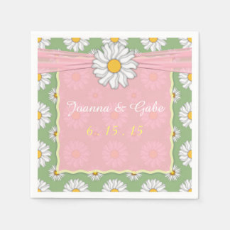 Pink White Green Daisy Floral Wedding Paper Napkins