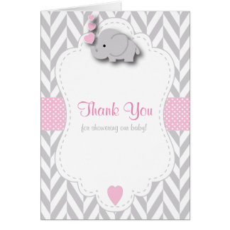 Pink, White Grey Elephant Baby Shower Thank You Card