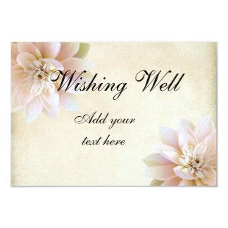 "Pink White Lotus Flower Wishing Well 3.5"" X 5"" Invitation Card"