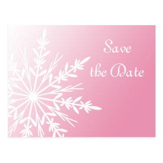 Pink White Snowflake Winter Wedding Save the Date Postcard