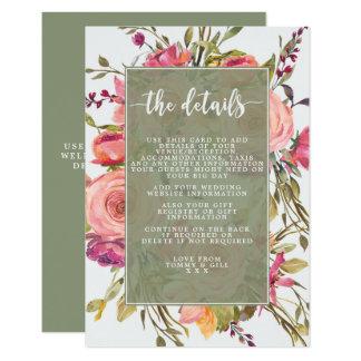 pink wildflower floral wedding details card