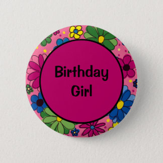 Pink with Pink Yellow Blue Green Flowers Birthday 6 Cm Round Badge
