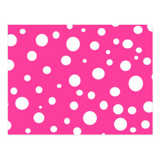 Pink with White Polka Dots Customizable Design Postcard