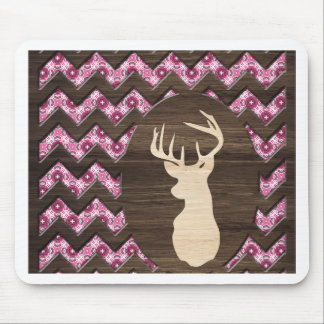 Pink Wood Chevron Deer Buck Mouse Pad