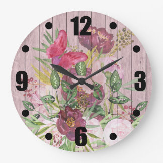 Pink Wood Effect Purple Peony Floral Bouquet Large Clock