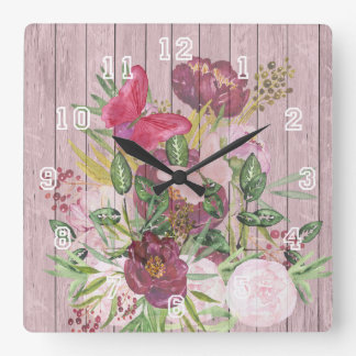 Pink Wood Effect Purple Peony Floral Bouquet Square Wall Clock