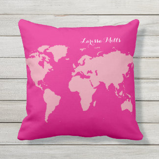 pink world of (your name) personalized outdoor cushion