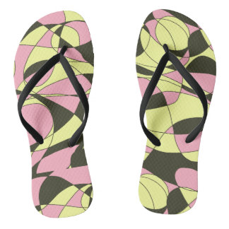 Pink, yellow and black camouflage thongs