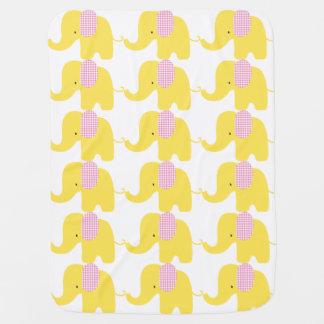 Pink & Yellow Baby Elephant Baby Blanket