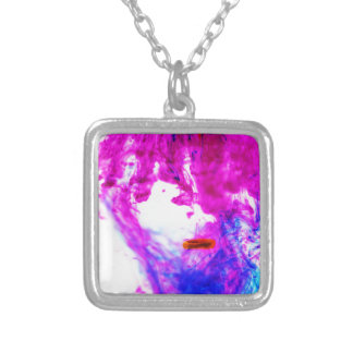 Pink Yellow Blue Ink Drop Fine Art Photography Necklace