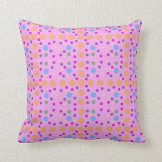 Pink Yellow Blue Orange Green Dots Throw Pillow