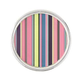 Pink Yellow Blue Purple Vertical Stripe Pattern Lapel Pin