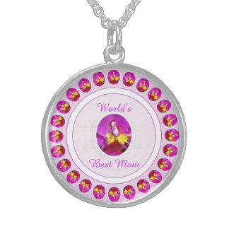 Pink Yellow Cattleya Orchid Mother's Day Necklace