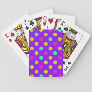 Pink Yellow Cyan Polka Dots Playing Cards Deck