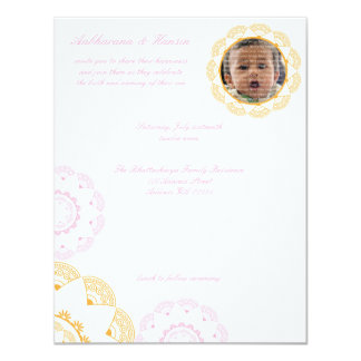 PInk & Yellow Namkaran Baby Naming Invitations