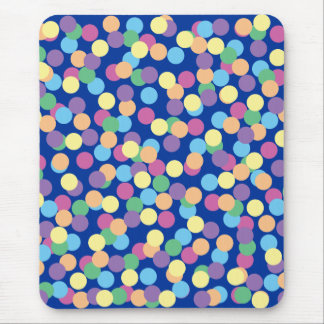 Pink Yellow Orange Green Blue & Purple Polka-Dots Mouse Pad
