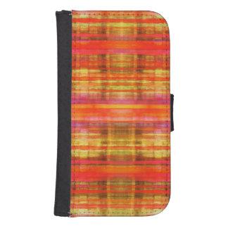 Pink Yellow Orange Stripes Pattern Samsung S4 Wallet Case
