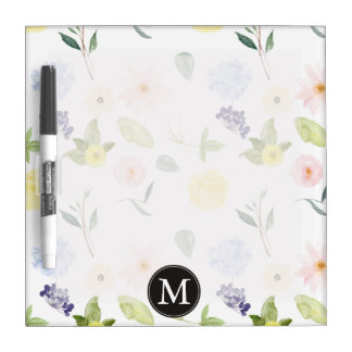 Pink Yellow Watercolor Floral Monogram Dry-Erase Whiteboard