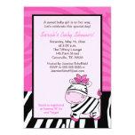 Pink Zebra 5x7 Baby Shower Invitation