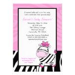 Pink Zebra 5x7 Baby Shower Invitation - Light Pink