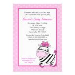 Pink Zebra 5x7 Baby Shower Invitation - Pink Dot