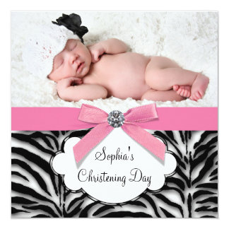 Pink Zebra Baby Girl Photo Christening 13 Cm X 13 Cm Square Invitation Card