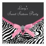Pink Zebra Birthday Party Custom Invitation